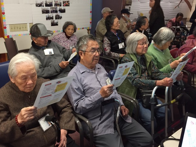 AAAJ-ALC know your voting rights workshop and voter registration in Oakland Chinatown, with partner organization Family Bridges.